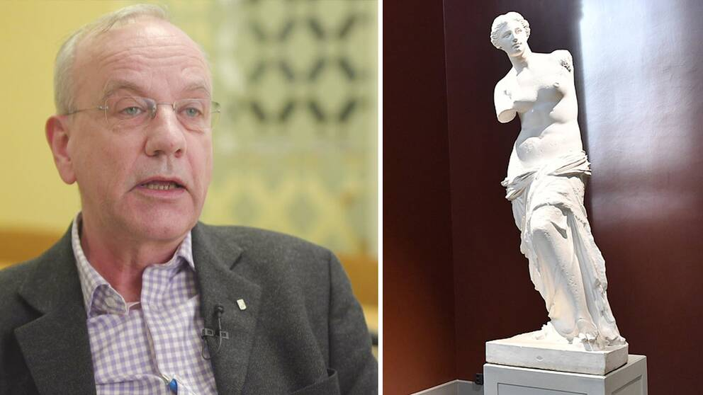 Per Dackenberg och en staty av en kvinna.