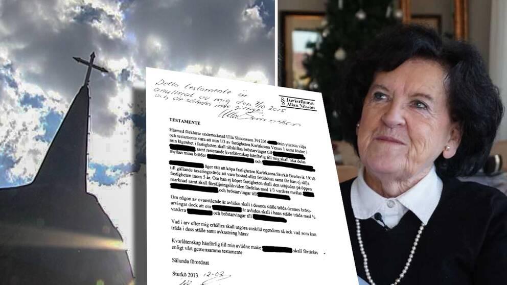 Fastighetsmiljonären Ulla Simonsson testamenterade delar av sin förmögenhet till prästen – men när hon träffade en yngre man annullerades dokumentet.