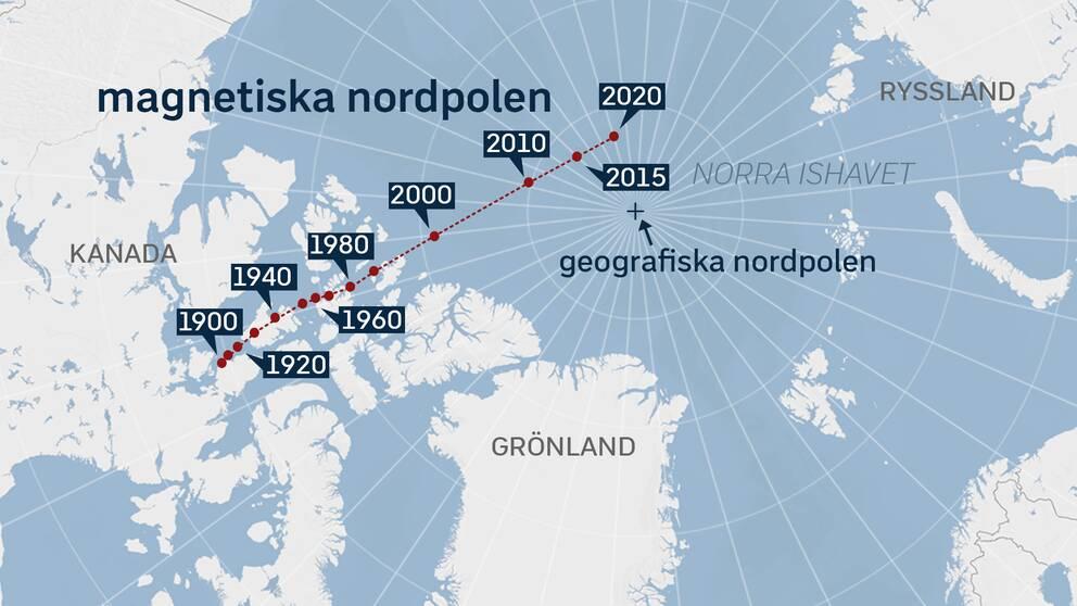 Den magnetiska nordpolen rör sig med ökande hastighet från Kanada mot Ryssland. Källa: World Data Center for Geomagnetism/universitetet i Kyoto.