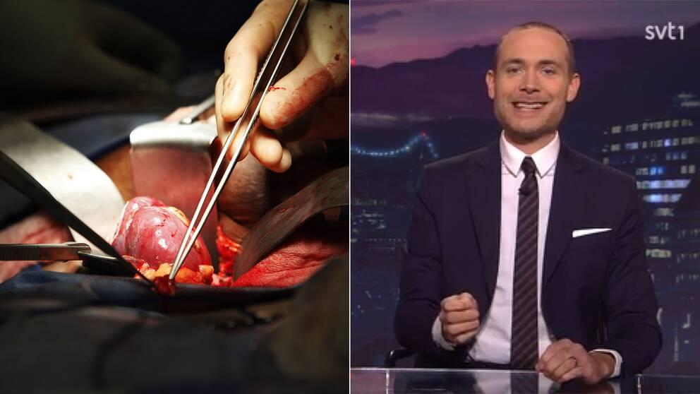 Njurtransplantation och programledaren Jesper Rönndahl.