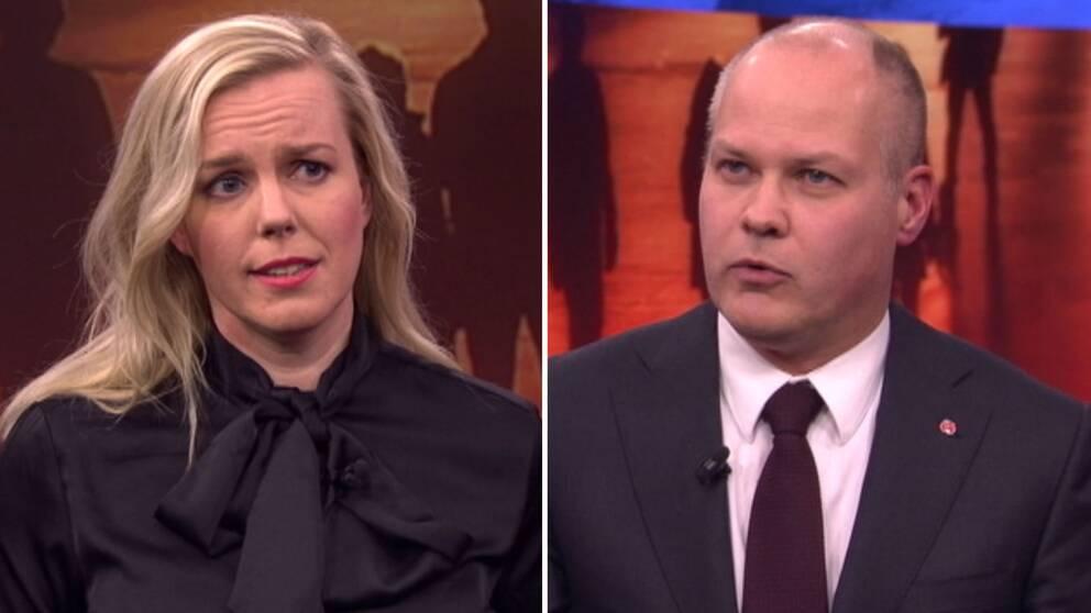 Linda Snecker (V) och Morgan Johansson (S) debatterar brott och straff i Aktuellt.