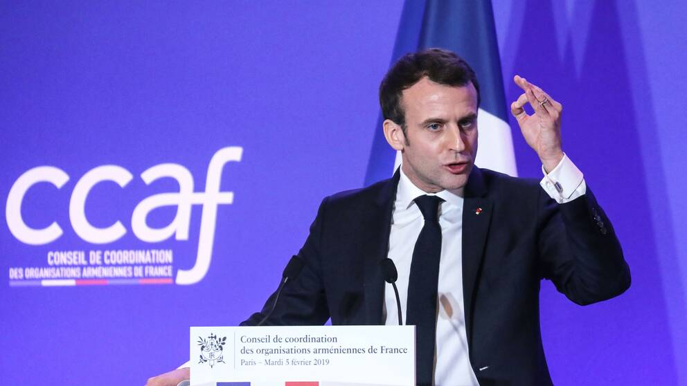 Frankrikes president Emmanuel Macron när han utlyste minnesdagen på tisdagskvällen.