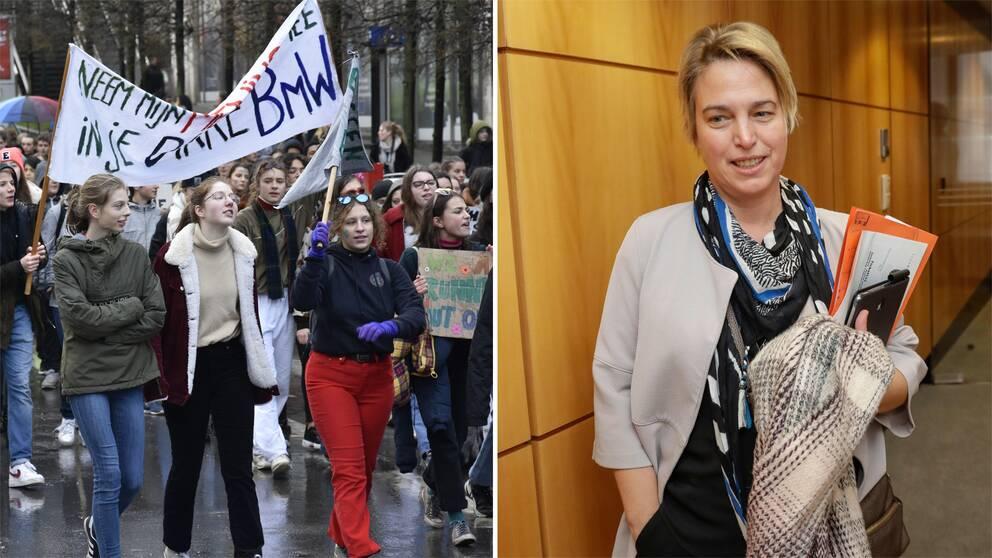 Studenter som protesterar och Flanderns miljöminister Joke Schauvliege.