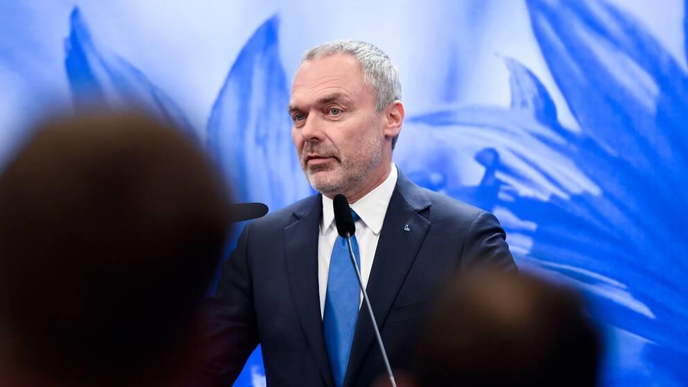Liberalernas partiledare Jan Björklund (L) under onsdagens pressträff i Riksdagens presscenter.