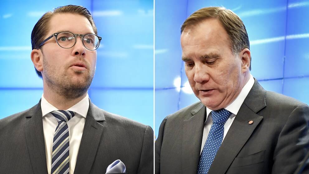 SD:s Jimmie Åkesson till vänster, och till höger Stefan Löfven (S)