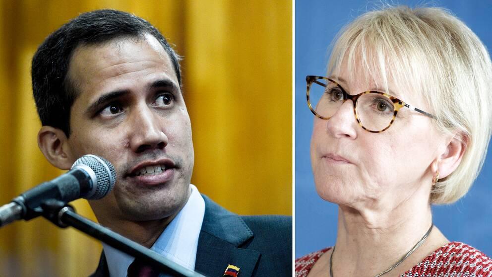 Oppositionsledaren Juan Guaidó i Venezuela har fått stöd av Sverige, men utrikesminister Margot Wallström (S) kommer inte till det internationella mötet i Uruguay om krisen i Venezuela.