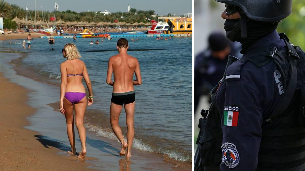 Turister på en strand i Egypten och en polis i Acapulco, Mekixo.