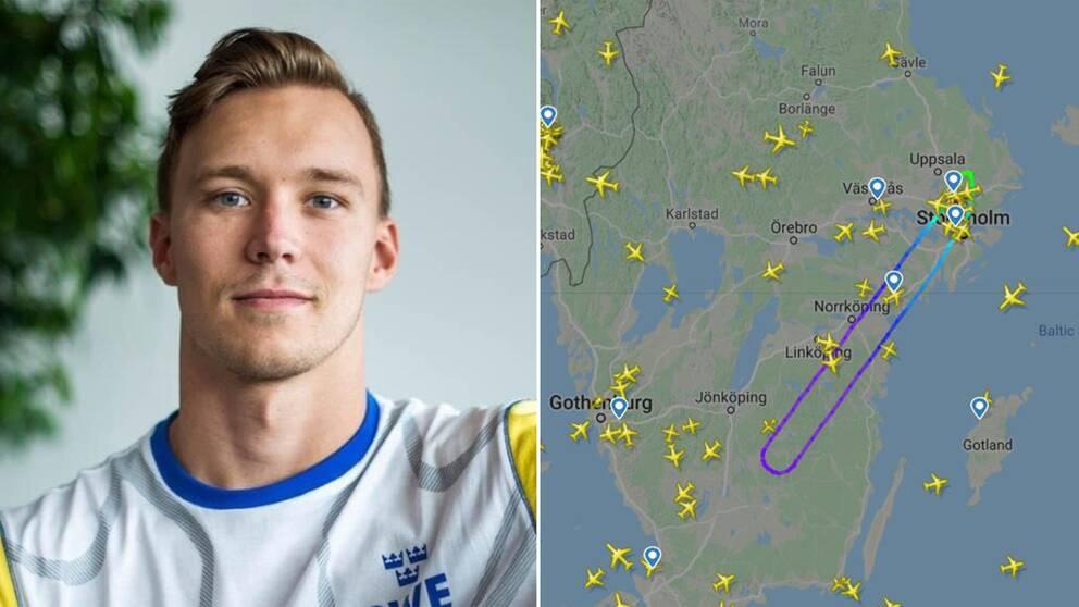 Isak Eliasson och en karta över flygets rutt