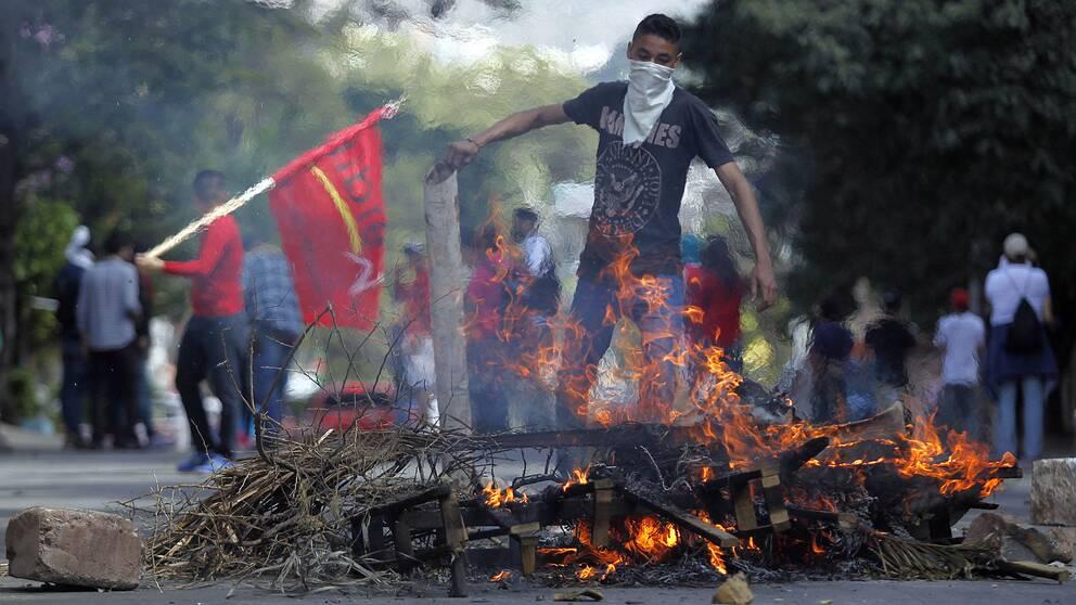 Våldsamma protester i Tegucigalpa i Honduras i slutet av januari 2019.