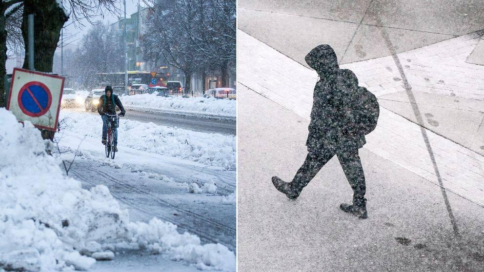 Personer som promenerar och cyklar i snö.