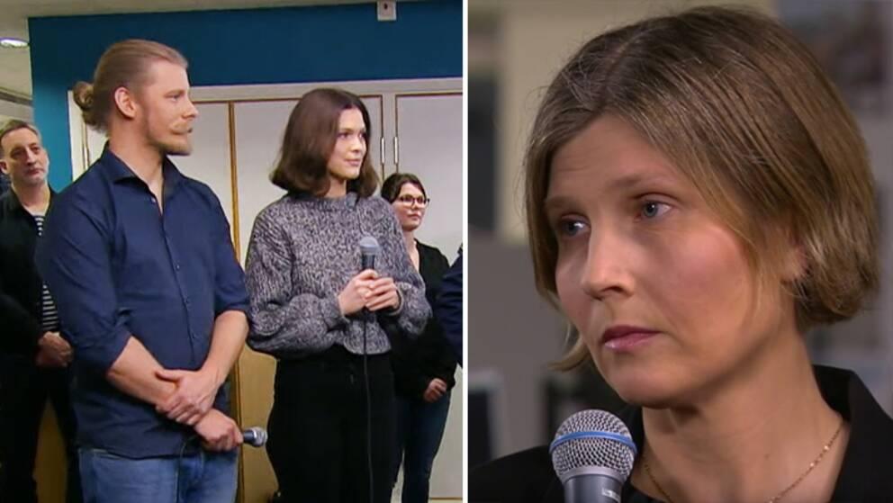 En man och två kvinnor håller i mikrofoner.