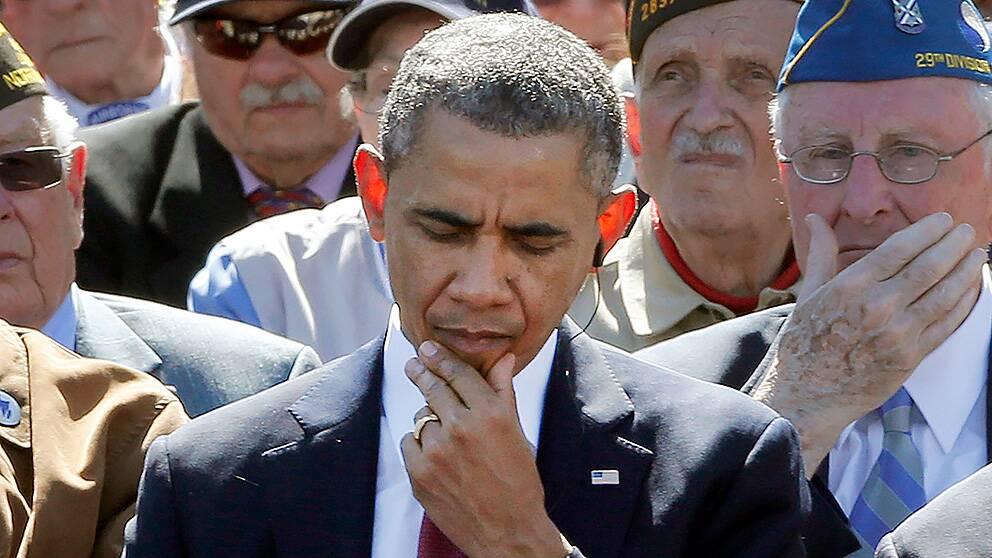 USA:s president Barack Obama mindes krigets offer i Colleville-sur-Mer i Frankrike.