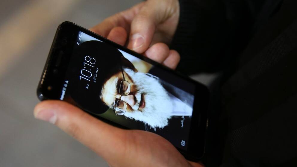 Irans högste andlige ledare Khamenei som skärmsläckare på en mobil.