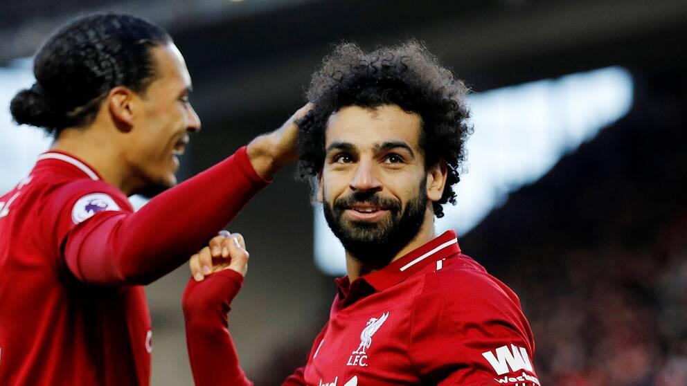 Mohamed Salah firar sitt 3-0-mål mot Bournemouth.
