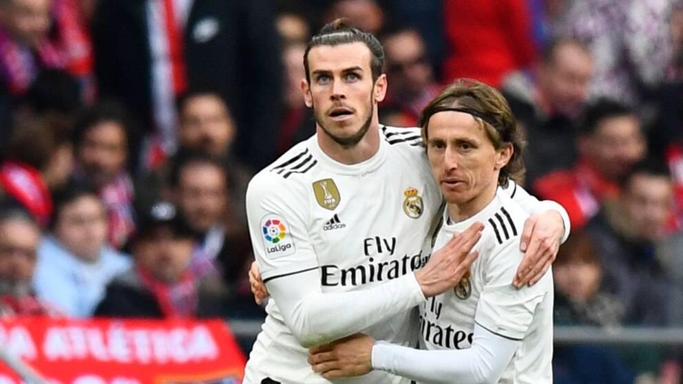 Gareth Bale och Luka Modric firar efter 3-1-målet.