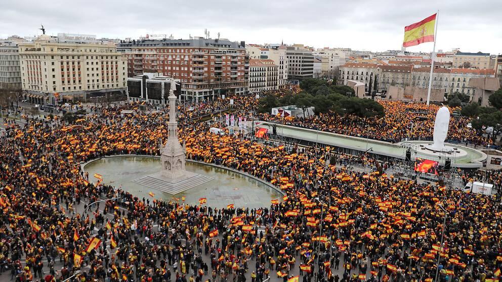 Tusentals högeranhängare i Madrid demonstrerar mot premiärminister Pedro Sánchez