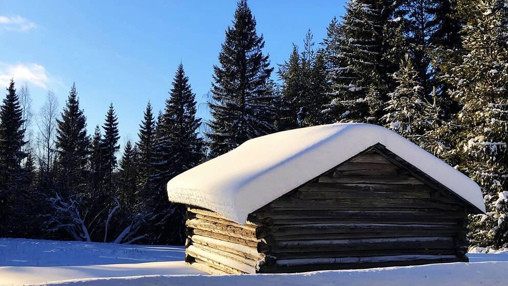 Torsdag den 7:e februari 2019 i Nordmaling var det strålande sol och snön gnistrade på stugtaken.