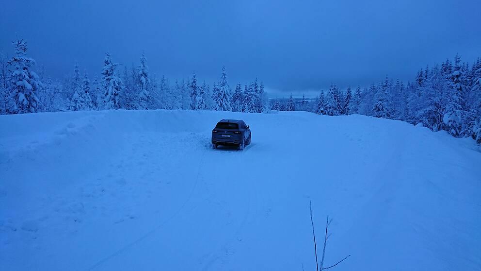 Höga kusten och Entré Väst i Skuleskogens nationalpark. Denna plats ligger endast 1 km fågelvägen ifrån E4:an över Skuleskogen. 110 cm var snödjupet den 10 februari 2019 kl. 16:00