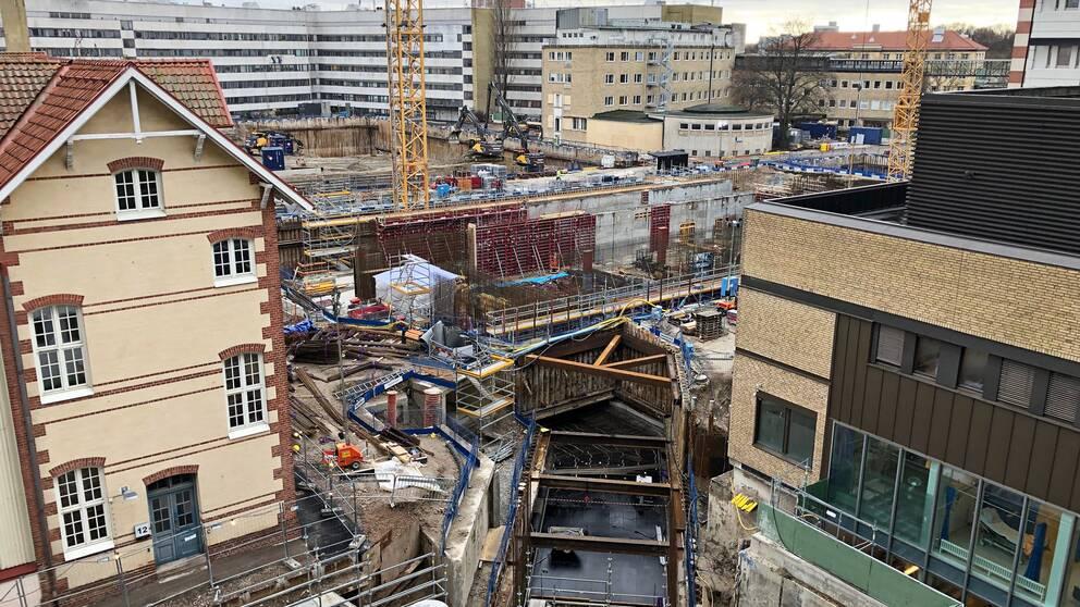 Byggarbetsplatsen på Skånes universitetssjukhus