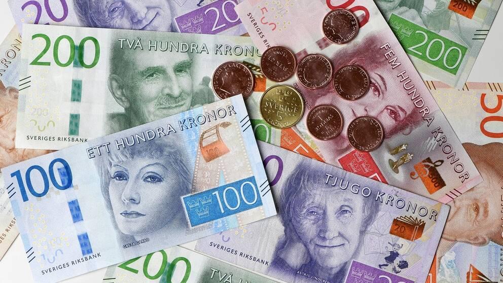 närbild på mynt och sedlar