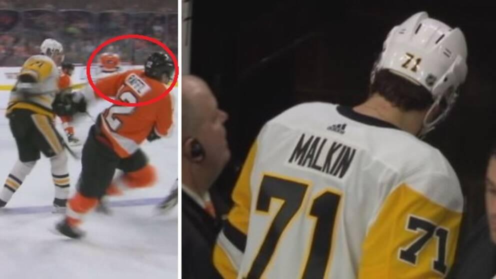 Pittsburghs Jevgenij Malkin hämnades på Philadelphias Michael Raffl med ett slag i ansiktshöjd med klubban. Matchstraff.
