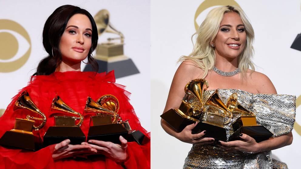 Kacey Musgraves och Lady Gaga vann flera priser var på årets Grammygala.