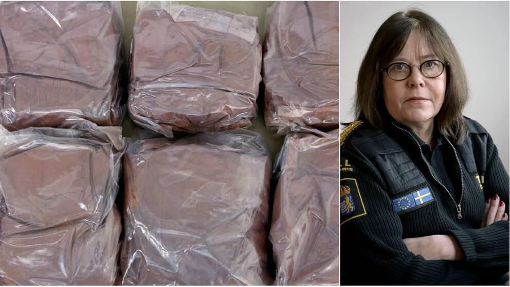 Generaltulldirektören Charlotte Svensson och delar av det kokain som beslagtogs på väg till Glumslöv.