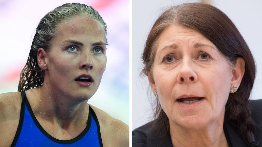 Simförbundets ordförande Ulla Gustavsson (höger) kritiserar RF för att ha idrottande barn med slöja på bild. Simmaren Michella Coleman (vänster) är kritisk mot uttalandet.
