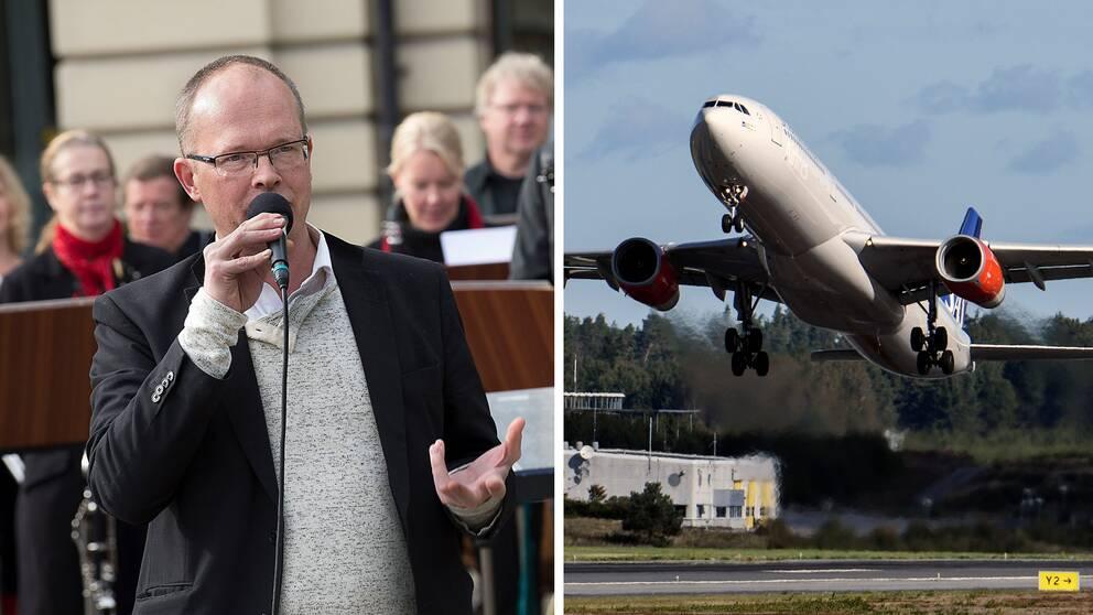 Fredrik Ösertling och ett flygplan