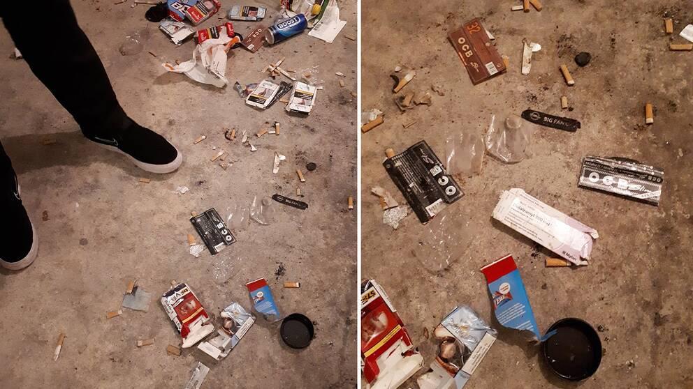 Fimpar och tomma tablettkartonger på golvet i ett källarutrymme.