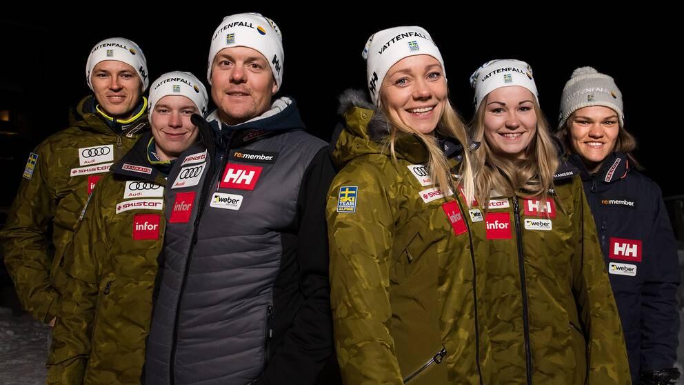 Det svenska alpinlandslaget i teknikgrenarna.