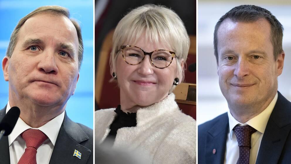 Stefan Löfven (S), Margot Wallström (S) och Anders Ygeman (S) hamnar i topp hos väljarna när det gäller förtroende för regeringens ministrar.