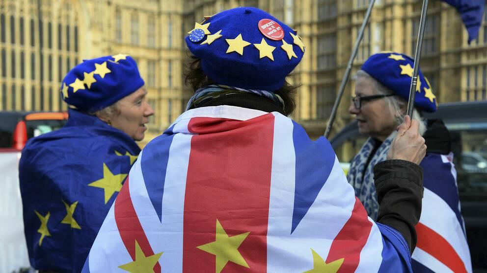 Brexitmotståndare viftar med flaggor utanför parlamentet i London.