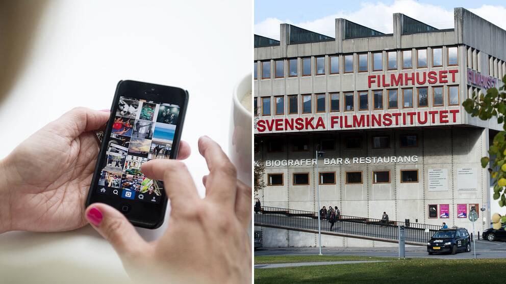 En mobiltelefon och Svenska filminstitutets byggnad Filmhuset.