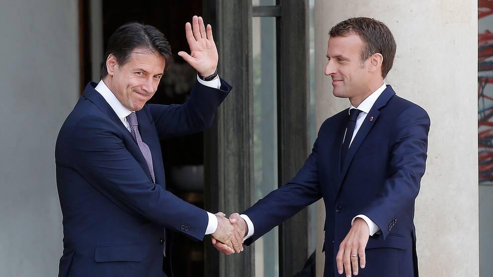 Italiens premiärminister Giuseppe Conte och Frankrikes president Emmanuel Macron