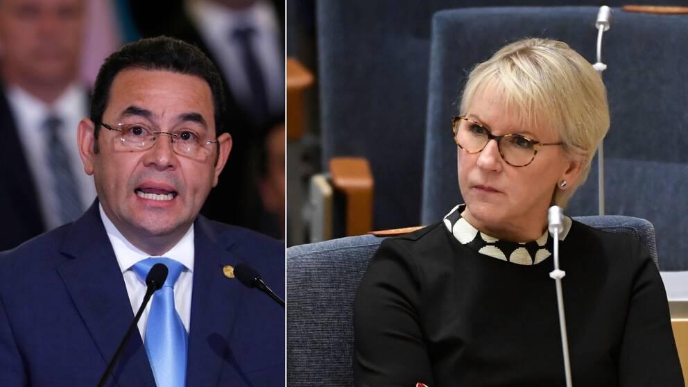 Utrikesminister Margot Wallström (t.h) kallar hem Sveriges ambassadör i Guatemala som en markering mot landet. T.h. Guatemalas president Jimmy Morales.
