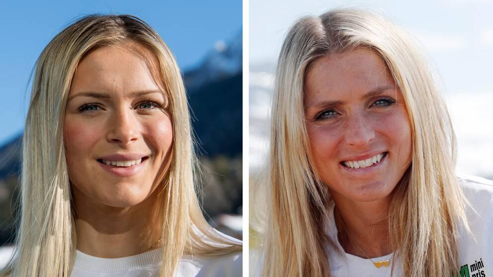Frida Karlsson (till vänster) jämförs med världens bästa längdåkare Therese Johaug (till höger).