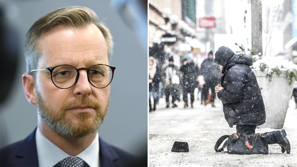 Mikael Damberg och en man som tigger.