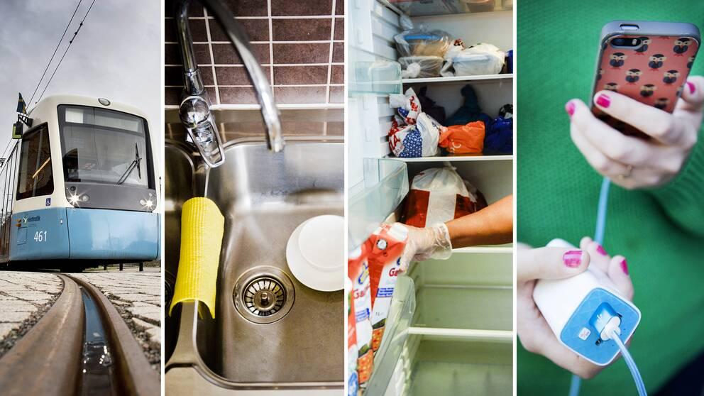 Kollektivtrafik, vatten i kranen, temperaturen i kylskåpet och möjligheterna att tillräckligt med batterinivå i mobiltelefonen är några av de saker som påverkas omedelbart när strömmen försvinner.