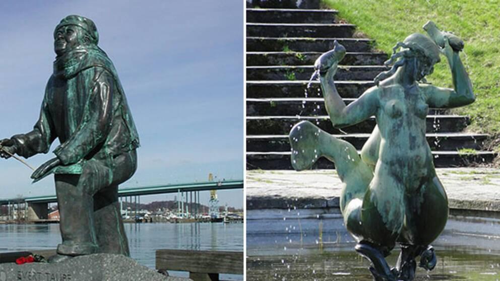 Till vänster Eino Hanskis Taubeskulptur vid Göteborgsoperan, till höger Carl Milles Najad i Botaniska trädgården, som även finns i Keillers park.