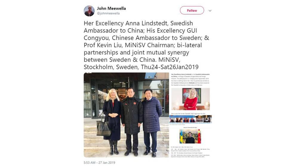 Affärsmannen John Meewella har tweetat om ett möte med de svenska och kinesiska ambassadörerna tillsammans med den kinesiske affärsmannen Kevin Liu ( t höger).