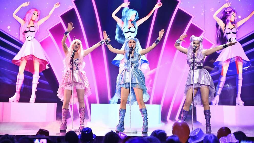 Dolly Style framför sitt bidrag Habibi i Melodifestivalens tredje deltävling i Leksand.