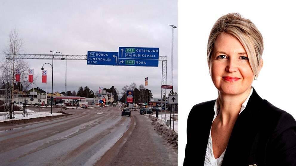Bild på vägkorsning i Sveg och porträttbild på blond kvinna, Inger Gunterberg, Telia