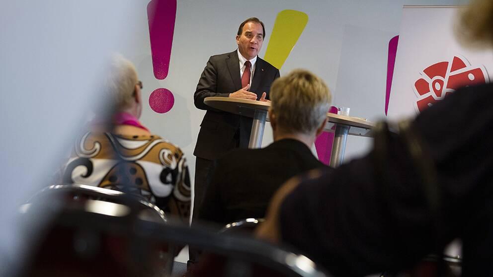 Socialdemokraternas partiledare Stefan Löfven presenterar socialdemokraternas program för jämställd politik på Nordiskt Forum i Malmö.