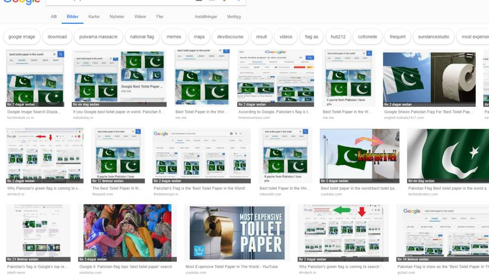 """En bildsökning på """"best toilet paper in the world"""" ger en rad bilder på den pakistanska flaggan."""