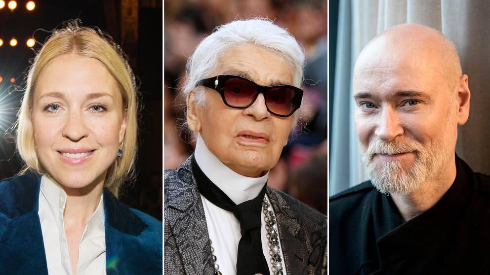 Modeexperten Emilia de Poret (t.v) och designern Lars Wallin (t.h) minns desigern Karl Lagerfeld (1933-2019).