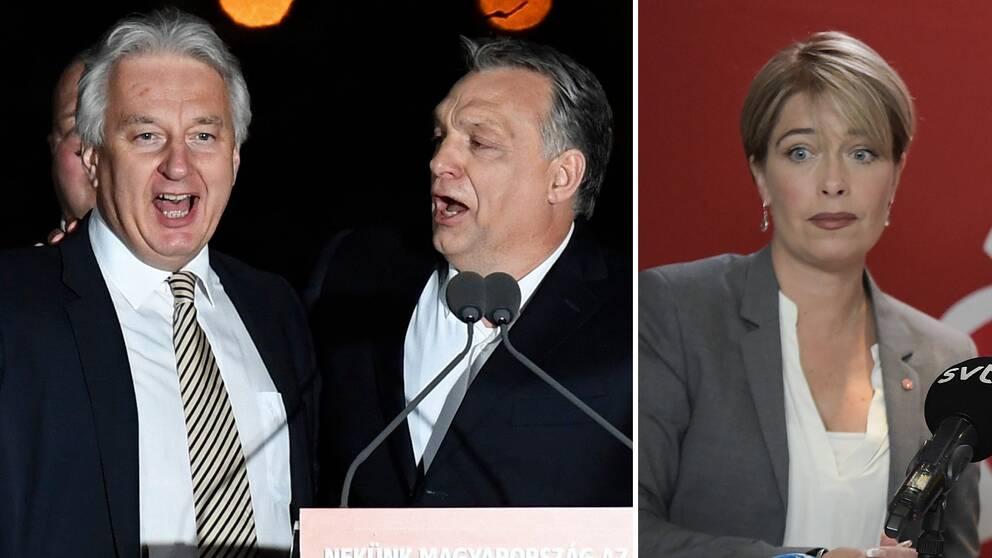 Zsolt Semjen (till vänster) bredvid Ungerns premiärminister Viktor Orban riktade i helgen hård kritik mot Annika Strandhäll (S).