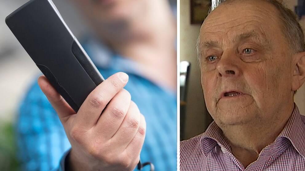 Porträtt på John Lundström tillsammans med en bild med man som håller en telefon i handen.