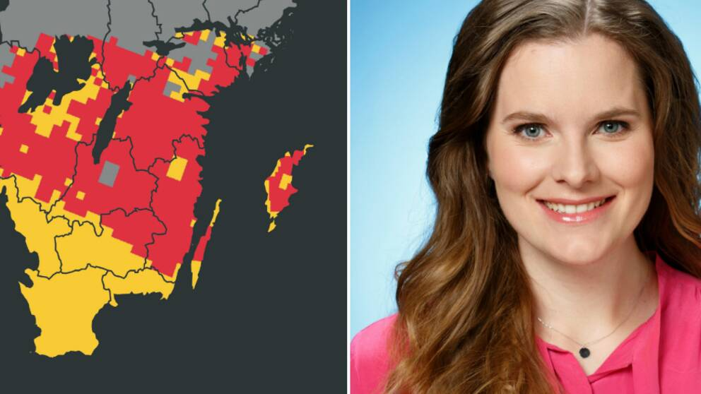 En karta som visar risk för gräsbränder och en bild på meteorolog Tora Tomasdottir.