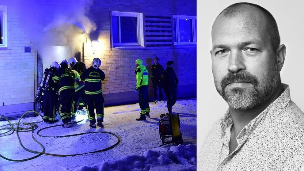 Räddningspersonal utanför det brinnande huset och en porträttbild Henrik Hägglund.